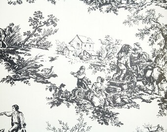 Retro Wallpaper by the Yard 70s Vintage Wallpaper - 1970s Black and White Toile Scenic