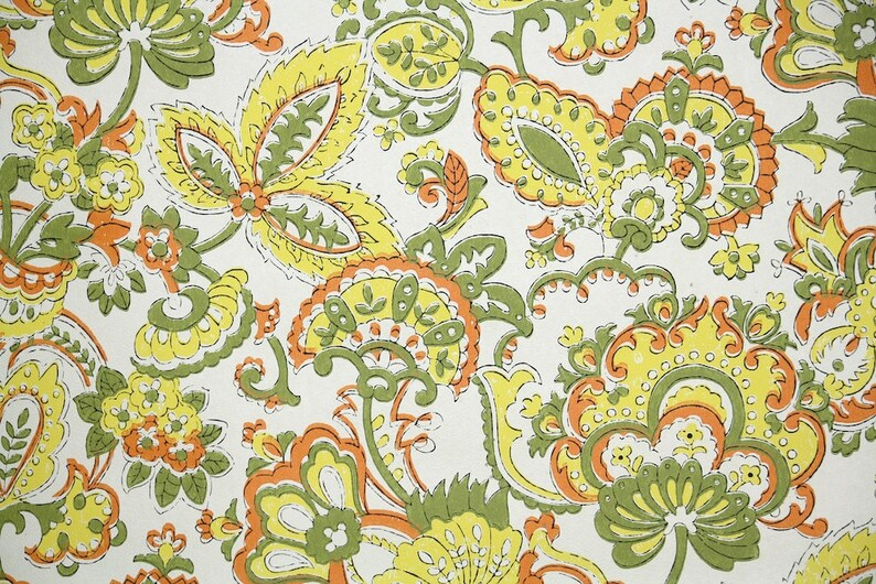 Retro Wallpaper By The Yard 70s Vintage Wallpaper Green Etsy
