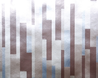 Retro Wallpaper by the Yard 70s Vintage Mylar Wallpaper - 1970s Geometric with Mirror Silver and Brown Vertical Rectangles Metallic