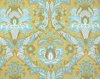 Retro Wallpaper by the Yard 70s Vintage Wallpaper - 1970s Blue and Gold Damask