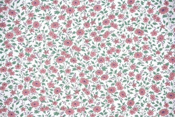 Retro Wallpaper by the Yard 70s Vintage Wallpaper 1970s Pink Blue and Peach Floral