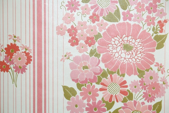 Retro Wallpaper By The Yard 70s Vintage Wallpaper 1970s Pink And Coral Floral Stripe With Green Leaves On White
