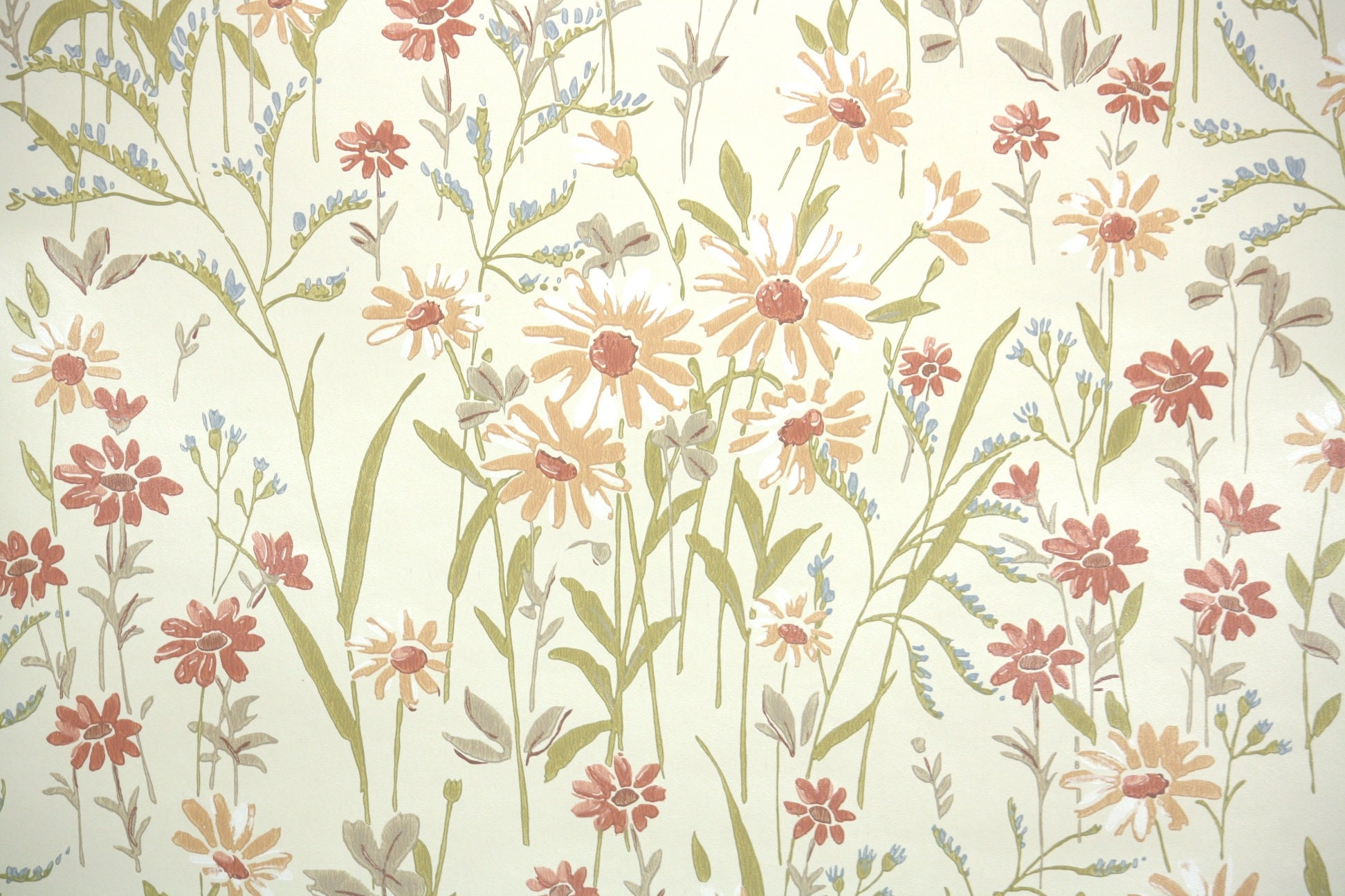 Retro Wallpaper By The Yard 60s Vintage Wallpaper 1960s Etsy