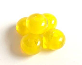 "5 artisan lampwork beads ""Citrine"", handmade, German Lauscha glass, transparent, brilliant, lemon yellow, citreous, donut, 8x10 mm/0.3-0.4"""