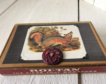 Vintage cigar box embellished Audubon red fox red black gold/ free shipping US