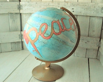 """Vintage globe world map embellished peace message Repogle 12"""" diameter metal stand/ free shipping US"""