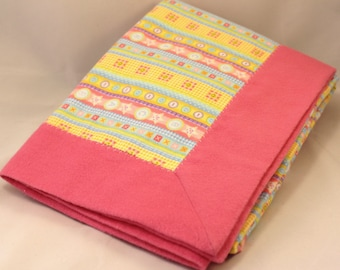 Double Layer Receiving Blanket ~ Pink Print Snuggle Flannel