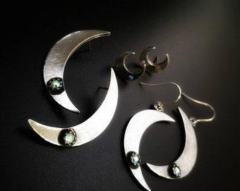 Large moon earrings. Crescent moon