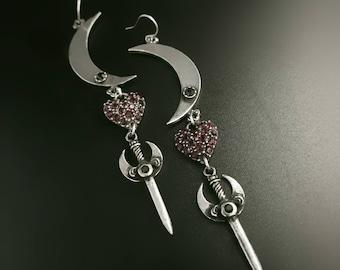Moon Heart Dagger earrings. Moon earrings. Dagger earrings. Heart earrings.
