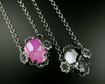 Swarovski Crystal Skull Necklace. Swarovski Skull. Day of the dead necklace