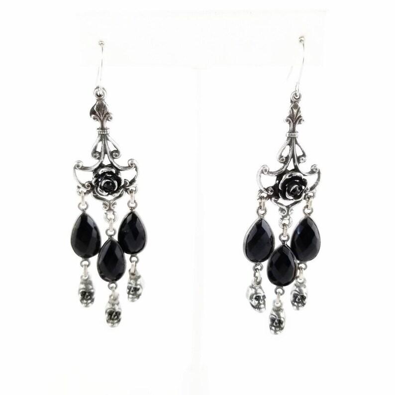 Onyx Goth Rose Chandelier Earrings