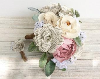 Book Bouquet, Book Page, Bouquet, Book Flowers, Paper Bouquet, Paper Roses (ITEM: TPG55D)