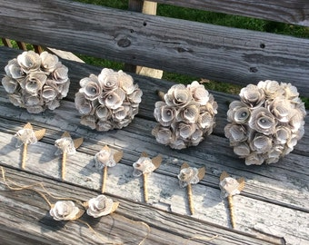 Book Page Bouquet, Book Page Boutonniere, Corsage, Book Page Flowers, Paper Flowers, Party of 12, Eco Wedding (Item: TPG88)
