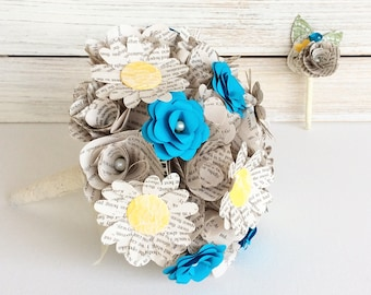Book Page Bouquet, Book Page Boutonniere, Star Wars Book Bouquet, Book Flowers, Paper Roses, 18 Paper Roses, Storybook Wedding (Item: TPG72)