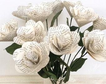 Book Flowers, 12 Book Page Flowers,Paper Flowers,Book Flowers,Dozen Paper Stem Roses,Eco Wedding Flower,(ITEM:TPG73G)