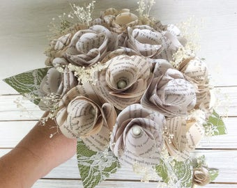Custom Book Bouquet, Book Page Bouquet, Book Page Boutonniere, Book Bouquet, Book Flowers, Paper Roses (ITEM: TPG55D)