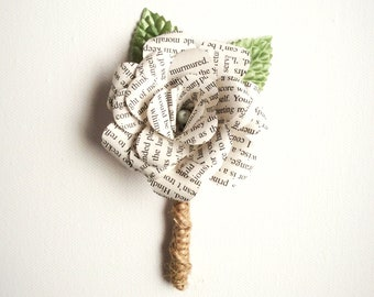 Book Page Boutonniere, Rustic Boutonniere, Paper Boutineer, Paper Rose, Eco Wedding-Customizable (Item: TPG71D)