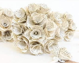 Custom Book Bouquet - Book Page Boutonniere -Choose Your Own Book -Book Bouquet -Book Flowers -Paper Roses (Item: TPG93)