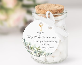 Editable Boy's First Communion Favor Tags • Watercolor Leaves • Green Palms and Eucalyptus Host and Chalice • Thank You Stickers • FCB001