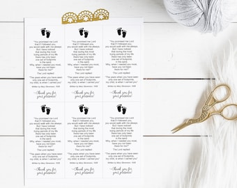 Footprints in the Sand Printable Poem White • Baby Baptism Religious Occasion Favor • Printable Cards • Instant Download • RFS001