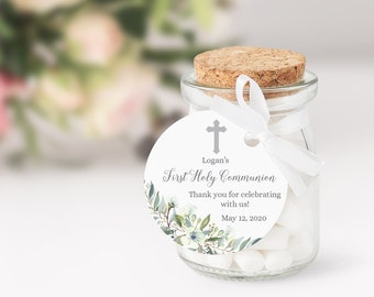 Editable Boy's First Communion Favor Tags • Watercolor Leaves • Green Palms Eucalyptus Silver or Gold Cross • Thank You Stickers • FCB001