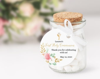 Editable Printable First Communion Favor Tag Girl • Round Blush Pink Gold Floral • Chalice and Host Thank You Stickers • FCG001
