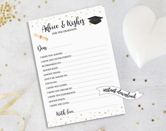 Advice and Wishes for the Graduate • Printable 5x7 Cards • Instant Download • GRA001