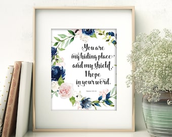 You Are My Hiding Place - Psalms 119:114 Printable Wall Art - Navy and Pink Wreath