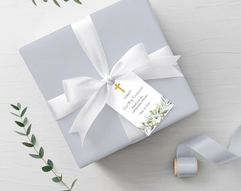Editable First Communion Favor Tag with Silver or Gold Cross • Watercolor Leaves Green Palms • FCB001