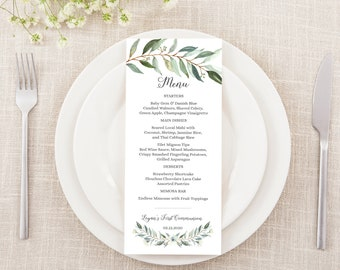 Editable Boy's First Communion Menu Card • Watercolor Leaves • Green Palms and Eucalyptus • FCB001