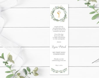 First Communion Remembrance Card •  Editable Boy's First Communion Bookmark • Watercolor Leaves and Green Palms • FCB001