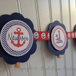 0 to 12 Months Nautical Party Banner - Red, White and Blue - Navy - Anchors - Baby's First Birthday