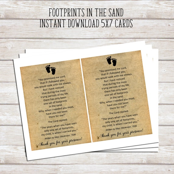 image regarding Footprints Poem Printable identified as Footprints in just the Sand Printable Poem - Boy or girl Baptism Like