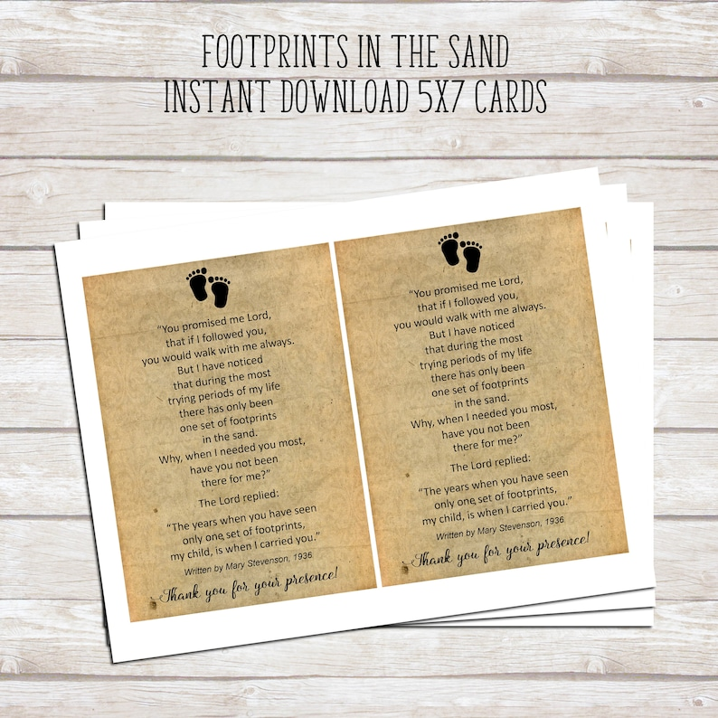 picture relating to Footprints in the Sand Printable known as Footprints in just the Sand Printable Poem - Kid Baptism Prefer - Printable 5x7 Playing cards - Quick Down load