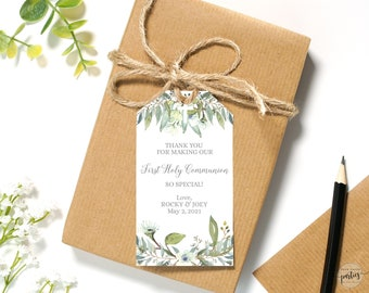 Editable Boy's First Communion Favor Tags • 2 x 3.5 inches • Watercolor Leaves and Green Palms • FCB001