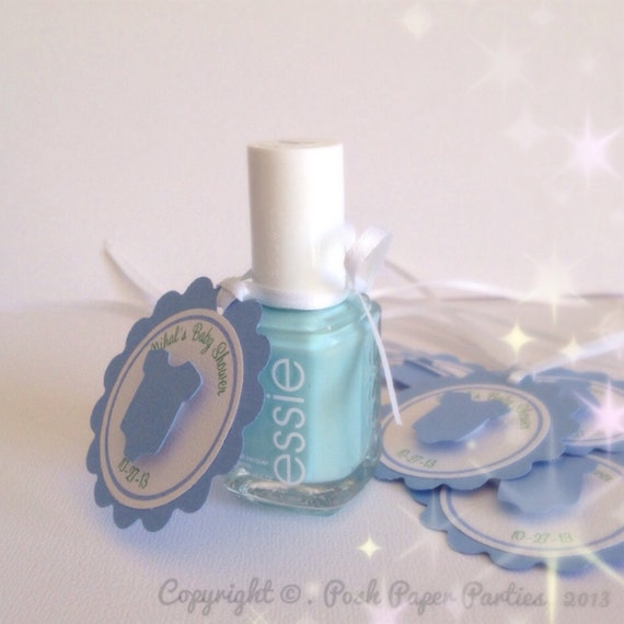 Baby Shower Favor Tags For Nail Polish It S A Boy Baby Blue White Mint Green