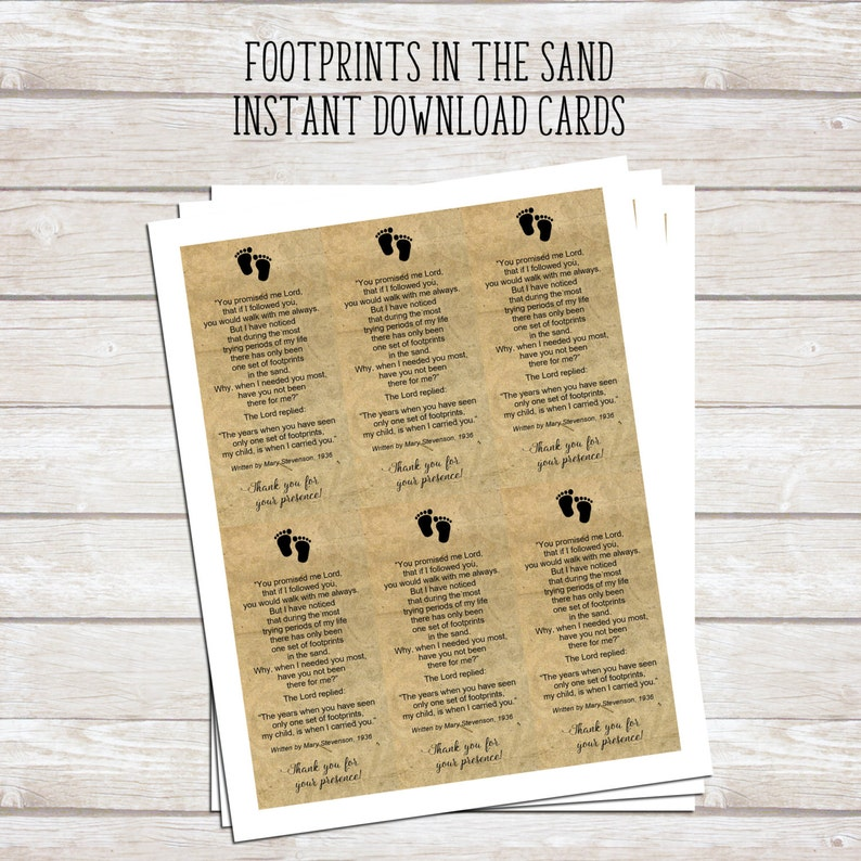 photograph regarding Footprints in the Sand Printable identify Footprints in just the Sand Printable Poem - Youngster Baptism Prefer - Printable Playing cards - Immediate Obtain