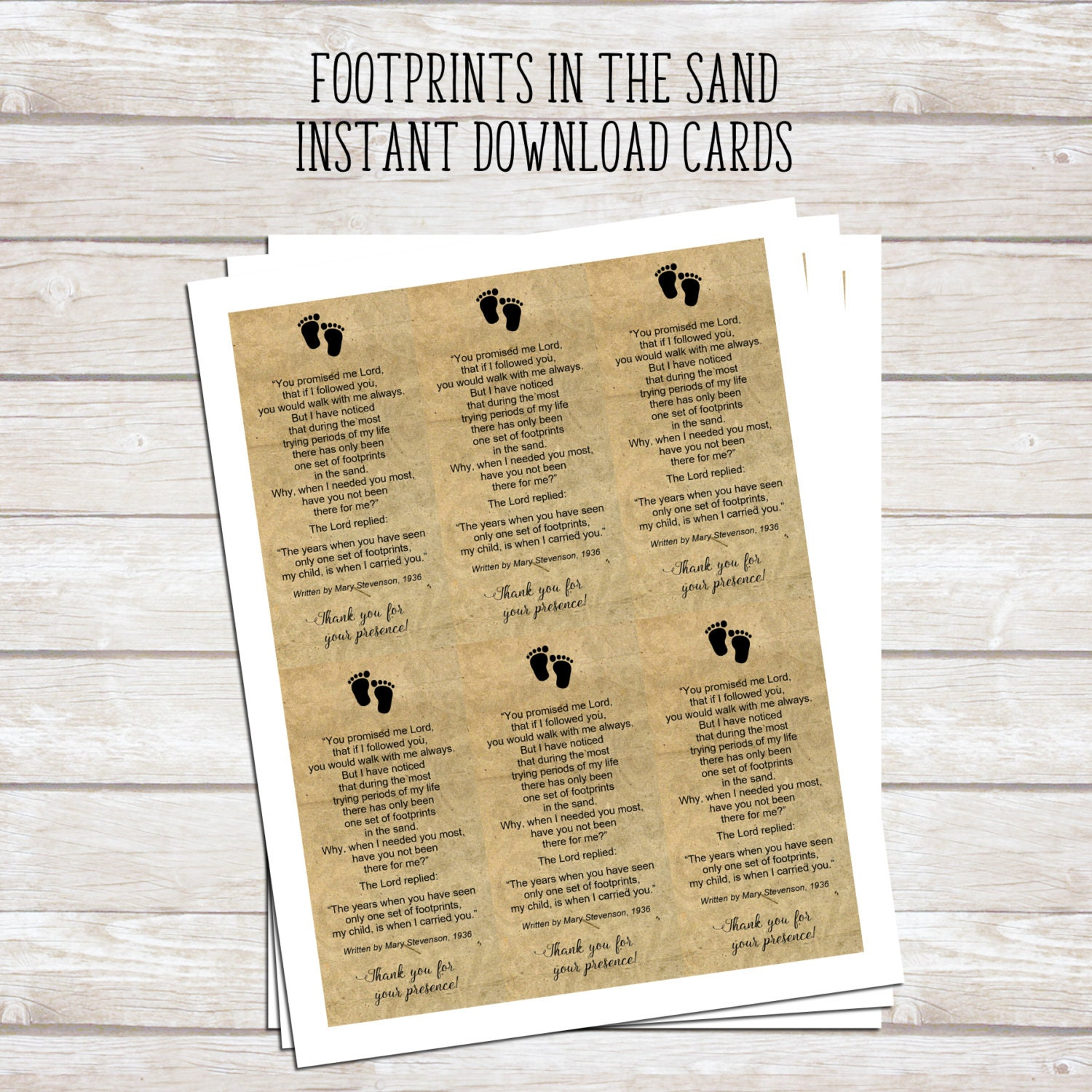 Footprints in the Sand Printable Poem Baby Baptism Favor | Etsy