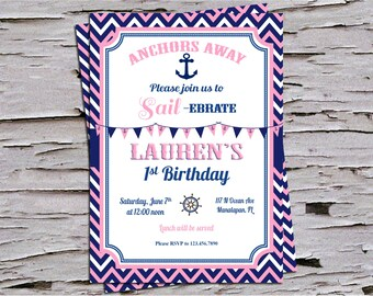 Anchors Away - Sailebrate - Nautical First Birthday Invitation - Red White and Blue - Pink and Navy -