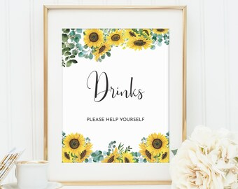 Sunflower Theme Bridal Shower Drinks Sign • 8x10 and 5x7 • Instant Download • BRS001