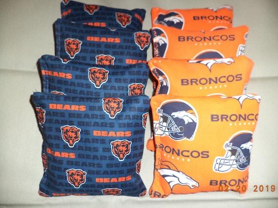 Cornhole Bean Bags w DENVER BRONCOS Fabric 4 ACA Regulation Game Toss Corn Bags