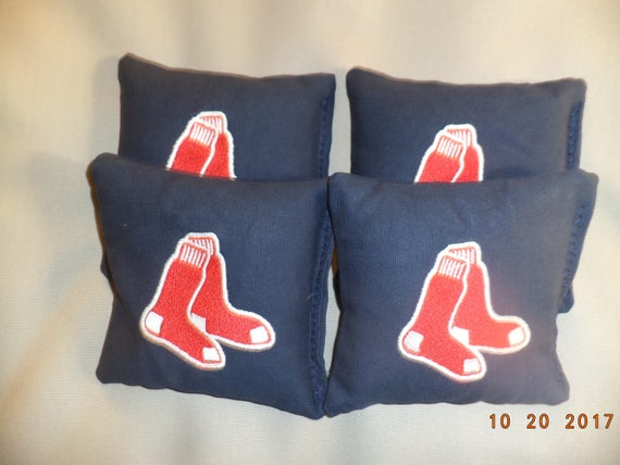 BOSTON RED SOX CORNHOLE BEAN BAGS SET OF 4 TOP QUALITY REGULATION TOSS GAME