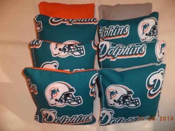 Teal Set of 8 Cornhole Corn Hole Bags Miami Dolphins Aqua /& Orange
