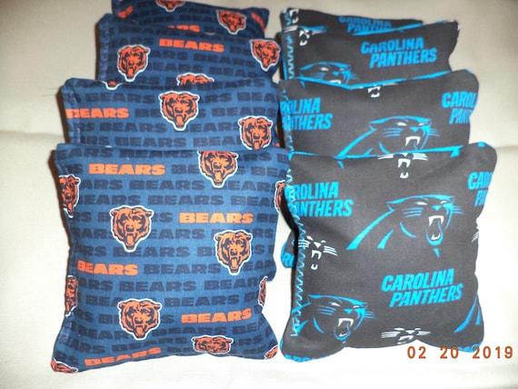 4 CORNHOLE BEANBAGS made w CAROLINA PANTHERS Fabric ACA Reg Bags Top Quality!