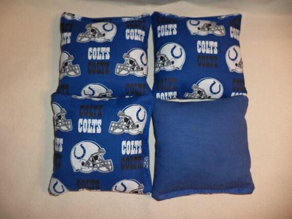 SET OF 8 ROYAL BLUE /& WHITE COLTS CORNHOLE BEAN BAGS FREE SHIPPING!