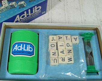 Ad-Lib Game Vintage Retro 1970s CrossWords Cubes Competition Set in Mint Condition with Box Complete Original Game Equipment for Repurposing