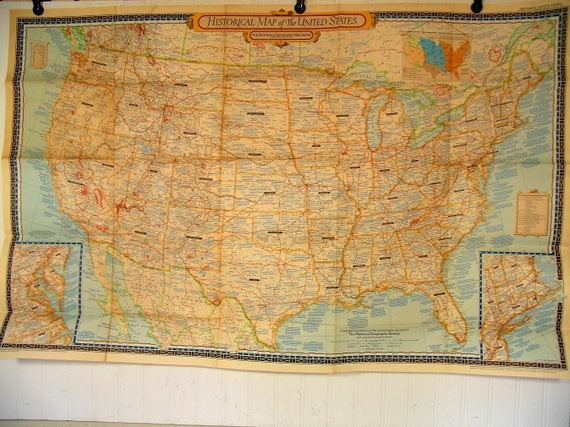 Historical Map of the United States June 1953 The National   Etsy