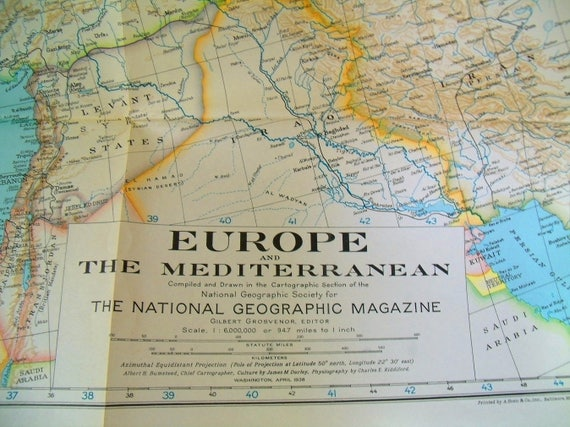 Map Of Europe And The Mediterranean April 1938 The National Etsy