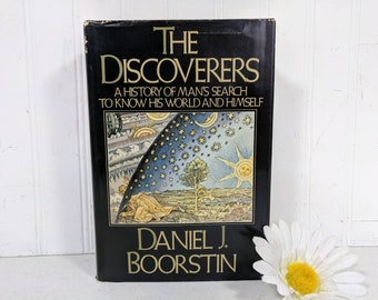 The Discoverers Book by Daniel J Boorstin History Of Man's Search To Know His World And Himself ©1983 First Edition Vintage Book Woodcut Art