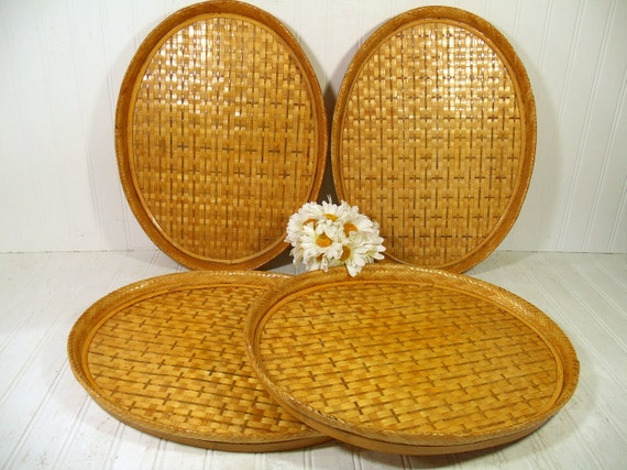 Bamboo Serving Trays Vintage Woven Rattan Set Of 4 Large Oval Etsy